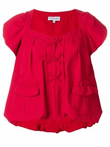 Carven peplum lace-up blouse - Red