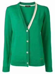 Loveless contrasting collar cardigan - Green