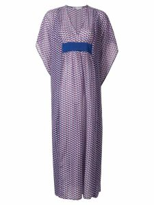 Mitos printed V neck Kaftan - Blue