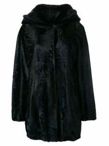 Liska loose fur trimmed coat with a hood - Blue