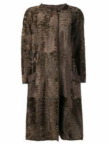 Liska Sil fur trimmed coat - Brown