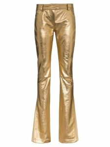 Ronald Van Der Kemp metallic flared trousers - GOLD