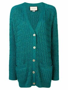 Gucci glitter cable knit cardigan - Blue