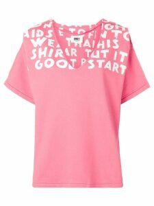 Mm6 Maison Margiela printed neck detail T-shirt - Pink