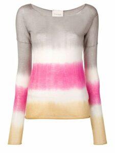 Fine Edge cashmere striped sweater - Grey