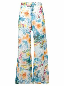 Blumarine floral print flared trousers - Blue