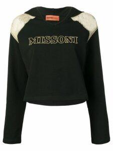 Missoni Mare mesh shoulder logo hoodie - Black
