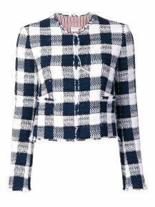 Thom Browne Silk Ribbon Gingham Cardigan Jacket - Blue