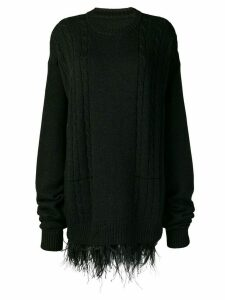 Maison Margiela oversized feather trim sweater - Black