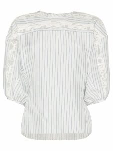 Chloé lace trim striped blouse - White