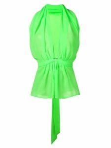 Styland deep V-neck blouse - Green