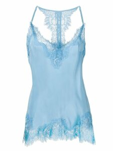 Gold Hawk lace trim slip top - Blue