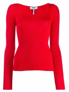 MSGM ribbed knit top - Red