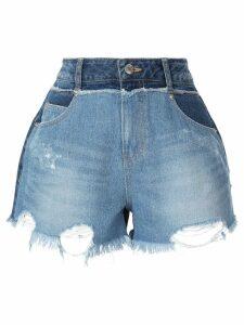 SJYP destroyed pocket denim shorts - Blue