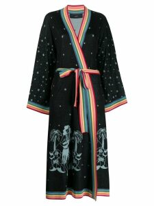 Alanui intarsia belted long cardigan - Black