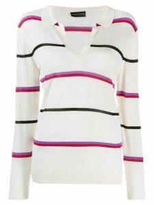 Cashmere In Love striped polo shirt - NEUTRALS