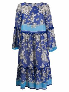 P.A.R.O.S.H. floral print flared dress - Blue