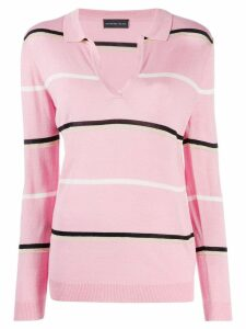 Cashmere In Love striped polo shirt - PINK