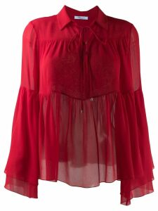 Blumarine ruffle trimmed blouse - Red