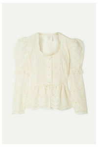 Anna Sui - Wild Jasmine Broderie Anglaise Cotton Peplum Blouse - Ivory
