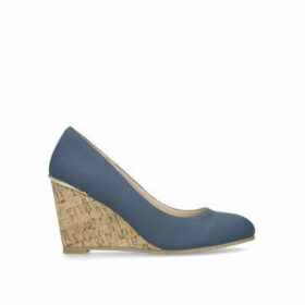 Carvela Comfort Lauren - Navy Heeled Wedge Court Shoes