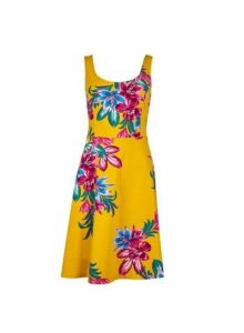 Womens Yellow Floral Print Seam Fit And Flare Dress, Yellow