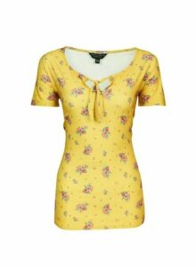 Womens Tall Yellow Ditsy Print Tie Top, Yellow