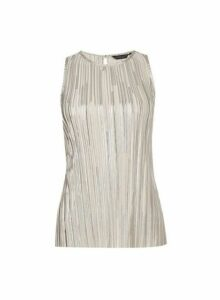 Womens Tall Shimmer Halter Neck Top - Silver, Silver
