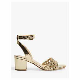Karen Millen Woven Block Heel Sandals, Gold