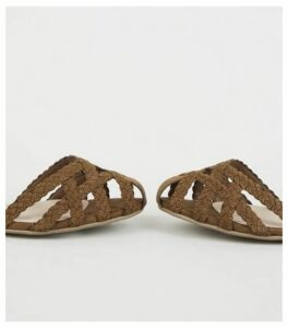 Wide Fit Tan Plait Strappy Caged Sandals New Look