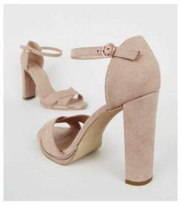 Wide Fit Pale Pink Suedette Block Heels New Look Vegan