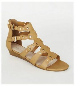 Tan Leather-Look Studded Gladiator Sandals New Look
