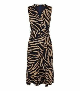 Mela Navy Tiger Print Wrap Front Midi Dress New Look
