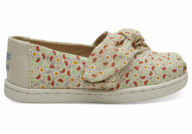 Beige Local Floral Print Bow Tiny TOMS Classics Slip-On Shoes - Size UK9