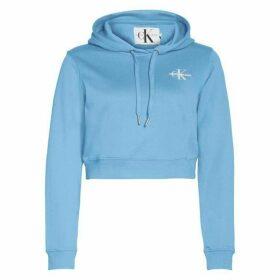 Calvin Klein Jeans Monogram Cropped Hoodie Womens - Blue