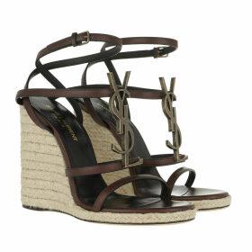 Saint Laurent Sandals - Cassandra Wedge Espadrilles Logo Leather Gold - brown - Sandals for ladies