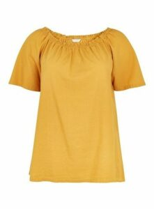 Ochre Linen Blend Bardot Top, Yellow