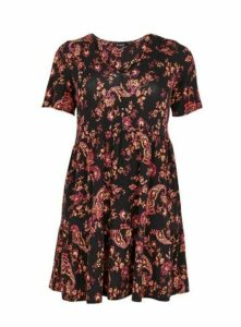 Black Floral Print Tunic Top, Black