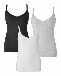 Black/White/Grey Pack of 3 Camis