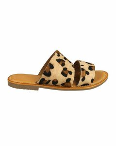 Leopard Leather Sliders Standard Fit