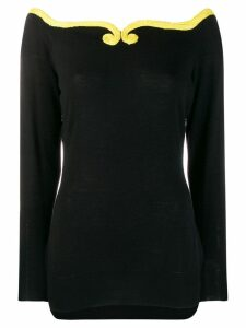 Versace Pre-Owned 1980's contrasting detail knitted blouse - Black