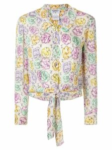 Chanel Pre-Owned Flower Pattern Long Sleeve Silk Shirts - White