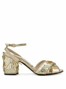 Nº21 sequinned block heel sandals - Gold