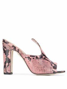 Paris Texas snakeskin heeled sandals - PINK