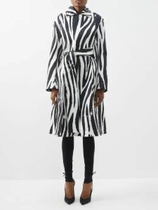Craig Green - Floral-print V-neck Striped-jacquard Sweatshirt - Womens - Blue Multi