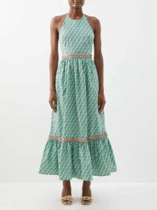 Norma Kamali - Tiered-fringe Stretch-jersey Pencil Skirt - Womens - Pink
