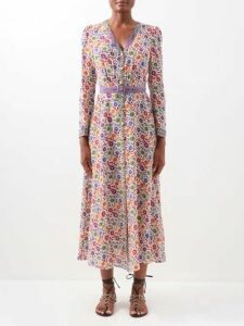Roksanda - Aulna Contrast Panel Tie Neck Silk Blouse - Womens - Navy