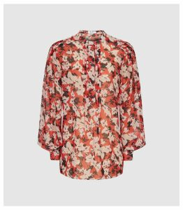 Reiss Provence - Floral Printed Blouse in Red, Womens, Size 14