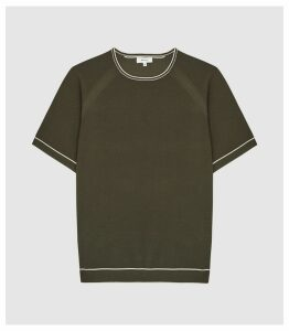 Reiss Kyle - Tipped Pique Crew Neck Top in Sage, Mens, Size XXL