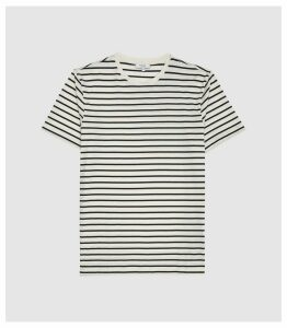 Reiss Holborn - Striped Crew Neck T-shirt in White/ Sage, Mens, Size XXL
